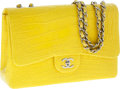 Luxury Accessories:Bags, Chanel Matte Jaune Yellow Crocodile Jumbo Single Flap Bag with Silver Hardware. ...