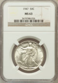 Walking Liberty Half Dollars: , 1947 50C MS63 NGC. NGC Census: (500/5904). PCGS Population(1225/8888). Mintage: 4,094,000. Numismedia Wsl. Price for probl...