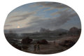 Maritime:Paintings, THOMAS BIRCH (American, 1779-1851). Evening Coastal Scene,1848. Oil on canvas. 18 x 26-1/2 inches (45.7 x 67.3 cm). Sig...