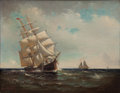 Maritime:Paintings, MARSHALL JOHNSON JR. (American, 1850-1921). American SailingVessel, 1916. Oil on canvas. 18-1/4 x 14-1/4 inches (46.4 x...