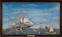 SHADOWBOX DIORAMA OF THE 'LAGODA' Depicts a scene from New Bedford, MA circa 1900. The whaler 'Lagoda' was intende