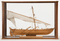 Maritime:Decorative Art, SCALE MODEL OF A WHALEBOAT. Finely modeled in wood and canvas..Presented in wood and glass case.. 19 x 29 x 12-1/2 inches (...