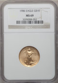 Modern Bullion Coins: , 1986 G$10 Quarter-Ounce Gold Eagle MS69 NGC. NGC Census:(8342/161). PCGS Population (1827/28). Mintage: 726,031.Numismedi...