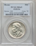 Commemorative Silver: , 1935/34 50C Boone MS65 PCGS. PCGS Population (658/265). NGC Census:(528/292). Mintage: 10,008. Numismedia Wsl. Price for p...