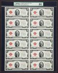 Small Size:Legal Tender Notes, Fr. 1508 $2 1928G Legal Tender Notes. Uncut Sheet of 12. PMG Choice Uncirculated 64.. ...