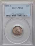 Barber Dimes: , 1892-S 10C MS62 PCGS. PCGS Population (16/66). NGC Census: (21/67).Mintage: 990,710. Numismedia Wsl. Price for problem fre...