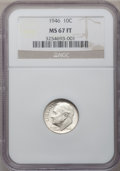 Roosevelt Dimes: , 1946 10C MS67 Full Bands NGC. NGC Census: (51/2). PCGS Population(34/1). Mintage: 255,250,000. Numismedia Wsl. Price for p...