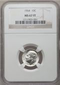Roosevelt Dimes: , 1964 10C MS67 Full Bands NGC. NGC Census: (28/0). PCGS Population(17/0). Mintage: 929,299,968. Numismedia Wsl. Price for p...