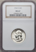 Washington Quarters: , 1954-S 25C MS67 NGC. NGC Census: (279/2). PCGS Population (34/1).Mintage: 11,834,722. Numismedia Wsl. Price for problem fr...