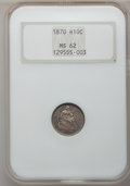 Seated Half Dimes: , 1870 H10C MS62 NGC. NGC Census: (49/141). PCGS Population (47/114).Mintage: 535,000. Numismedia Wsl. Price for problem fre...