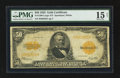 Large Size:Gold Certificates, Fr. 1200 $50 1922 Gold Certificate PMG Choice Fine 15 Net.. ...