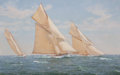 Maritime:Paintings, RICHARD K. LOUD (American, b. 1942). Match Race, 'Minerva' and'Gossoon'. Oil on canvas. 32 x 50 inches (81.3 x 127 cm)...(Total: 3 Items)