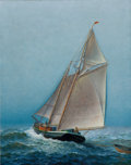 Maritime:Paintings, JAMES GALE TYLER (American, 1855-1931). Schooner on ChoppySeas. Oil on canvas. 24 x 30 inches (61.0 x 76.2 cm). Signed...
