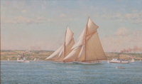 RICHARD K. LOUD (American, b. 1942) Pair of Yachts Racing Oil on canvas 14 x 23 inches (35.6 x 58