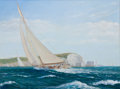 Paintings, PATRICK LIVINGSTONE (Irish, b. 1956). Yacht Racing Off the Needles. Oil on canvas. 29 x 40 inches (73.7 x 101.6 cm). Sig...