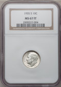 Roosevelt Dimes: , 1955-S 10C MS67 Full Bands NGC. NGC Census: (21/0). PCGS Population(5/0). Mintage: 18,510,000. Numismedia Wsl. Price for p...