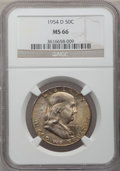 Franklin Half Dollars: , 1954-D 50C MS66 NGC. NGC Census: (24/1). PCGS Population (4/0).Mintage: 25,445,580. Numismedia Wsl. Price for problem free...