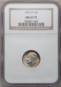 Roosevelt Dimes: , 1951-D 10C MS67 Full Bands NGC. NGC Census: (73/1). PCGS Population(46/2). Mintage: 56,529,000. Numismedia Wsl. Price for ...