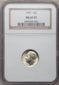 Roosevelt Dimes: , 1947 10C MS67 Full Bands NGC. NGC Census: (35/0). PCGS Population(38/0). Mintage: 121,520,000. Numismedia Wsl. Price for p...
