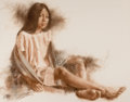 Works on Paper, WILLIAM WHITAKER (American, b. 1943). Seated Girl with Shawl, 1977. Pastel on paper. 27-1/2 x 35 inches (69.9 x 88.9 cm)...