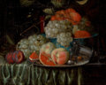 Fine Art - Painting, European:Antique  (Pre 1900), JAN PAUWEL I GILLEMANS (Flemish, 1618-1675). Still Life of Fruit Arranged on a Draped Table with Pewter Plate and Chinese ...