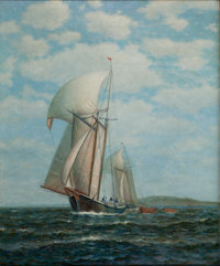 JAMES GALE TYLER (American, 1855-1931) Full Sail Oil on canvas 30 x 25 inches (76.2 x 63.5 cm)