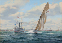 ROY CROSS (British, b. 1924) 'Volunteer' America's Cup Yacht Oil on canvas 16 x 22 inches (40.6 x
