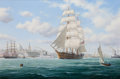 Maritime:Paintings, ROGER CHARLES DESOUTTER (American, b. 1923). Boston. Oil oncanvas. 24 x 36 inches (61.0 x 91.4 cm). Signed lower right:...