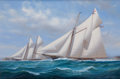 Maritime:Paintings, SHANE MICHAEL COUCH (British, b. 1963). 'Mohawk' and 'Madeline'Off New York 1875, 2003. Oil on canvas. 24 x 36 inches (...