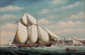Maritime:Paintings, SALVATORE COLACICCO (British Italian, b. 1935). Yacht GloryRacing Off Nantucket. Oil on panel. 24 x 36 inches (61.0 x 9...