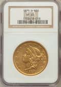 Liberty Double Eagles: , 1871-S $20 XF45 NGC. NGC Census: (143/1213). PCGS Population(114/395). Mintage: 928,000. Numismedia Wsl. Price for problem...