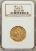 Liberty Eagles: , 1849 $10 AU50 NGC. NGC Census: (98/369). PCGS Population (58/100).Mintage: 653,618. Numismedia Wsl. Price for problem free...