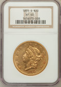 Liberty Double Eagles: , 1855-S $20 XF40 NGC. NGC Census: (52/684). PCGS Population(96/398). Mintage: 879,675. Numismedia Wsl. Price for problem fr...
