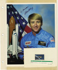 Explorers:Space Exploration, Lot of Nine Astronaut, Aviator, and Engineer Signatures, including:Chuck Yeager, W. L. Shepard, Jerome Apt, Story Musgrave,... (Total:9 Item)
