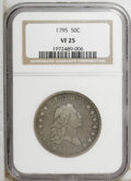 Early Half Dollars: , 1795 50C 2 Leaves VF25 NGC. NGC Census: (0/610). PCGS Population(66/235). Mintage: 299,680. Numismedia Wsl. Price: $3,555....