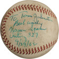Autographs:Baseballs, 1962 Warren Spahn Single Signed 327th Career Victory Game UsedBaseball....