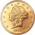Liberty Double Eagles, 1891 $20 MS62 NGC. CAC....