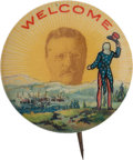 Political:Pinback Buttons (1896-present), Theodore Roosevelt: Stunning Welcome Button....