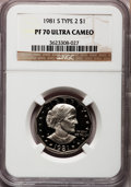 Proof Susan B. Anthony Dollars: , 1981-S SBA$ Type Two PR70 Ultra Cameo NGC. NGC Census: (18). PCGSPopulation (99). Numismedia...