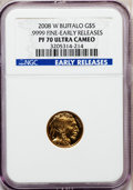 Modern Bullion Coins, 2008-W $5 Tenth-Ounce Gold Buffalo, Early Releases PR70 Ultra CameoNGC. .9999 Fine. NGC Census: (0). PCGS Population (250)...