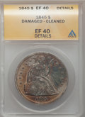 Seated Dollars: , 1845 $1 -- Damaged, Cleaned -- ANACS. XF40 Details. NGC Census:(10/126). PCGS Population (31/154). Mintage: 24,500. Numism...