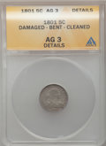 Early Half Dimes: , 1801 H10C -- Bent, Damaged, Cleaned -- ANACS. AG3 Details. NGCCensus: (0/27). PCGS Population (1/48). Mintage: 27,760. Num...