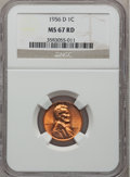 Lincoln Cents: , 1956-D 1C MS67 Red NGC. NGC Census: (193/0). PCGS Population(25/0). Mintage: 1,098,201,088. Numismedia Wsl. Price for prob...