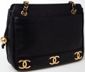 Luxury Accessories:Bags, Heritage Vintage: Chanel Black Caviar Leather Gold CC Shoulder Bag....
