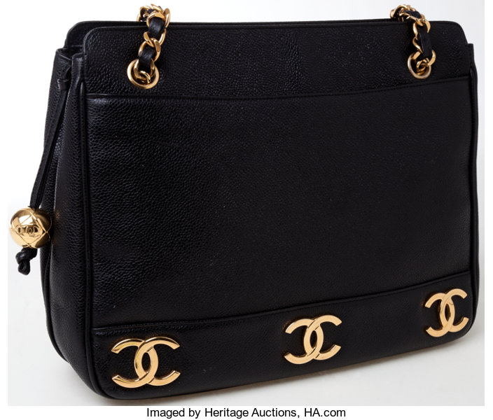 68ef960a776f ... Luxury Accessories:Bags, Heritage Vintage: Chanel Black Caviar Leather  Gold CC Shoulder Bag ...