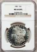 Morgan Dollars: , 1887 $1 MS64 Deep Mirror Prooflike NGC. NGC Census: (449/138). PCGSPopulation (353/205). Numismedia Wsl. Price for proble...