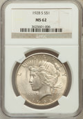 Peace Dollars: , 1928-S $1 MS62 NGC. NGC Census: (732/2547). PCGS Population(951/3664). Mintage: 1,632,000. Numismedia Wsl. Price for probl...