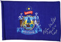 Explorers:Space Exploration, Apollo 14 Flown Maine State Flag Directly from the PersonalCollection of Mission Lunar Module Pilot Edgar Mitchell, Signed,w...