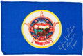 Explorers:Space Exploration, Apollo 14 Flown Minnesota State Flag Directly from the PersonalCollection of Mission Lunar Module Pilot Edgar Mitchell, Signe...