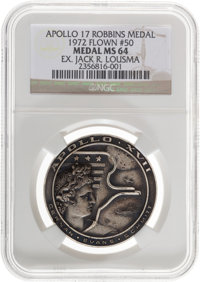 Apollo 17 Flown MS64 NGC Silver Robbins Medallion Originally from the Personal Collection of Astronaut Jack Lousma, Seri...